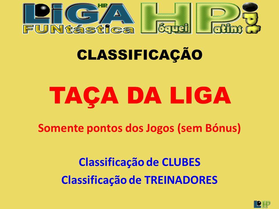 CLASSIFICAÇÃO Classificação de CLUBES Classificação de TREINADORES TAÇA DA LIGA Somente pontos dos Jogos (sem Bónus)