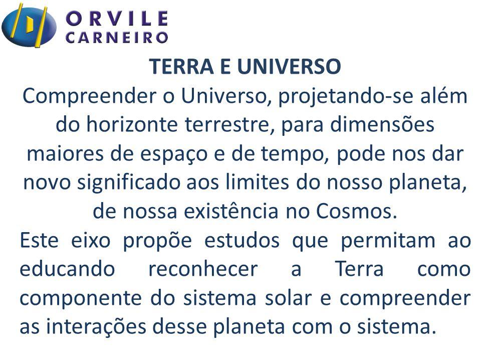TERRA E UNIVERSO Compreender o Universo, projetando-se além do horizonte terrestre, para dimensões maiores de espaço e de tempo, pode nos dar novo sig