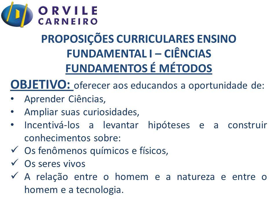 PROPOSIÇÕES CURRICULARES ENSINO FUNDAMENTAL I – CIÊNCIAS FUNDAMENTOS É MÉTODOS OBJETIVO: oferecer aos educandos a oportunidade de: Aprender Ciências,