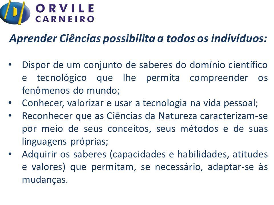 Aprender Ciências possibilita a todos os indivíduos: Dispor de um conjunto de saberes do domínio científico e tecnológico que lhe permita compreender