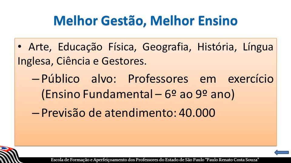 """Escola de Formação e Aperfeiçoamento dos Professores do Estado de São Paulo """"Paulo Renato Costa Souza"""" Melhor Gestão, Melhor Ensino Arte, Educação Fís"""