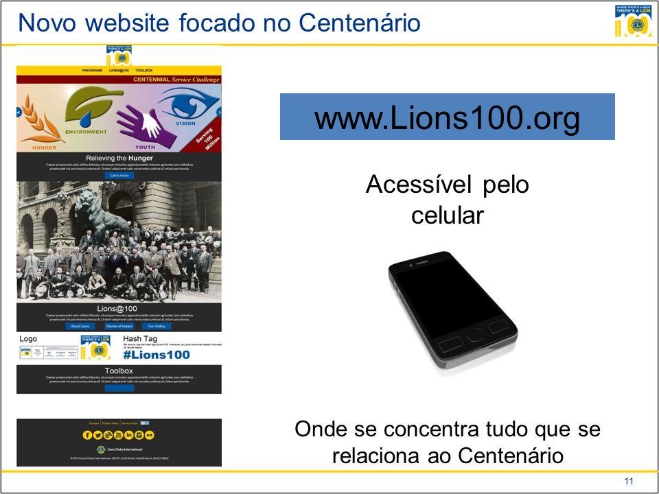 11 Novo website focado no Centenário www.Lions100.org Acessível pelo celular Onde se concentra tudo que se relaciona ao Centenário