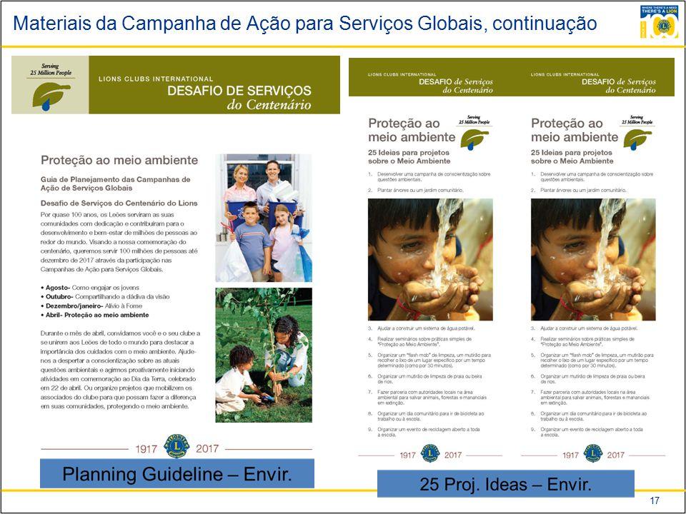 17 Materiais da Campanha de Ação para Serviços Globais, continuação