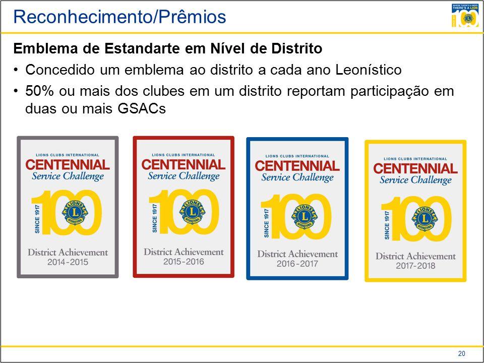 20 Reconhecimento/Prêmios Emblema de Estandarte em Nível de Distrito Concedido um emblema ao distrito a cada ano Leonístico 50% ou mais dos clubes em um distrito reportam participação em duas ou mais GSACs