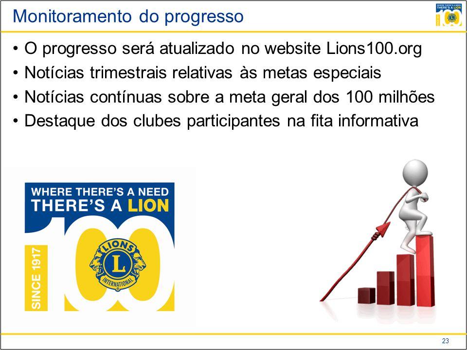 23 Monitoramento do progresso O progresso será atualizado no website Lions100.org Notícias trimestrais relativas às metas especiais Notícias contínuas sobre a meta geral dos 100 milhões Destaque dos clubes participantes na fita informativa