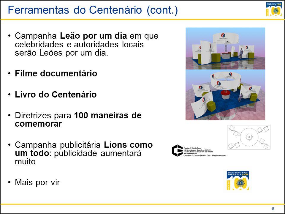 9 Ferramentas do Centenário (cont.) Campanha Leão por um dia em que celebridades e autoridades locais serão Leões por um dia.