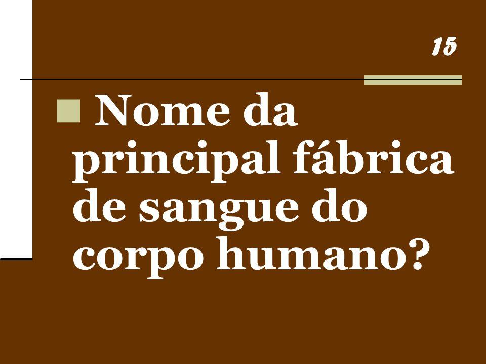 15 Nome da principal fábrica de sangue do corpo humano?