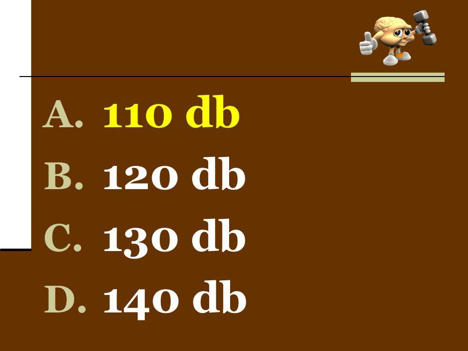 A. 110 db B. 120 db C. 130 db D. 140 db