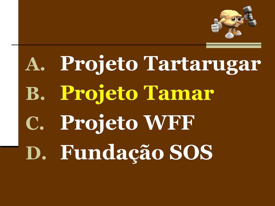 A. Projeto Tartarugar B. Projeto Tamar C. Projeto WFF D. Fundação SOS