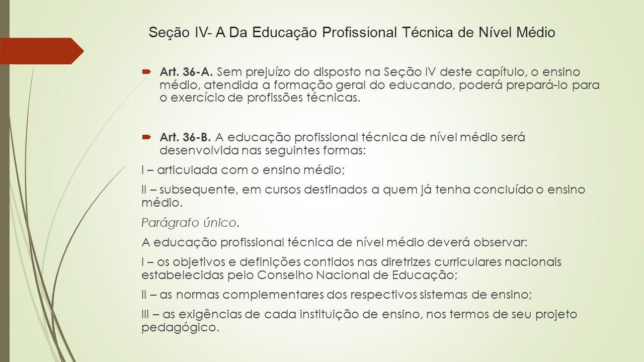 Seção IV- A Da Educação Profissional Técnica de Nível Médio  Art. 36-A. Sem prejuízo do disposto na Seção IV deste capítulo, o ensino médio, atendida