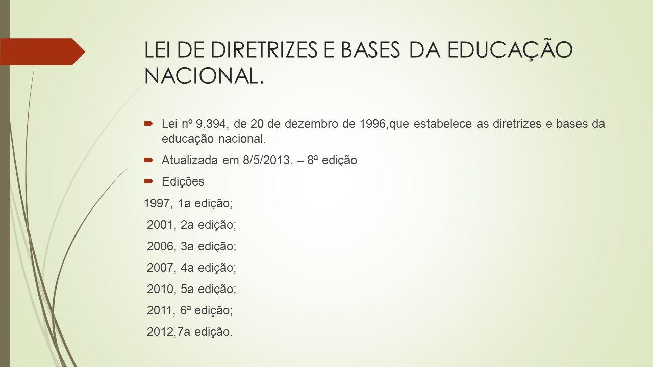 LEI DE DIRETRIZES E BASES DA EDUCAÇÃO NACIONAL.  Lei nº 9.394, de 20 de dezembro de 1996,que estabelece as diretrizes e bases da educação nacional. 