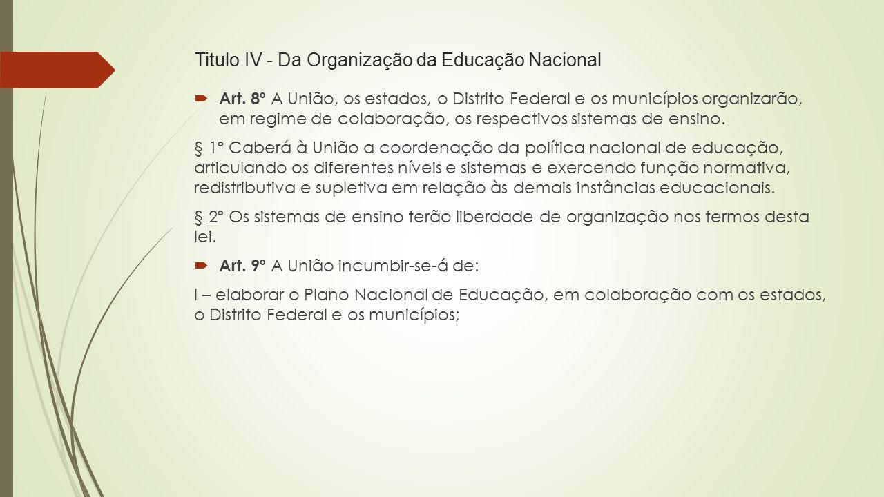 Titulo IV - Da Organização da Educação Nacional  Art. 8º A União, os estados, o Distrito Federal e os municípios organizarão, em regime de colaboraçã