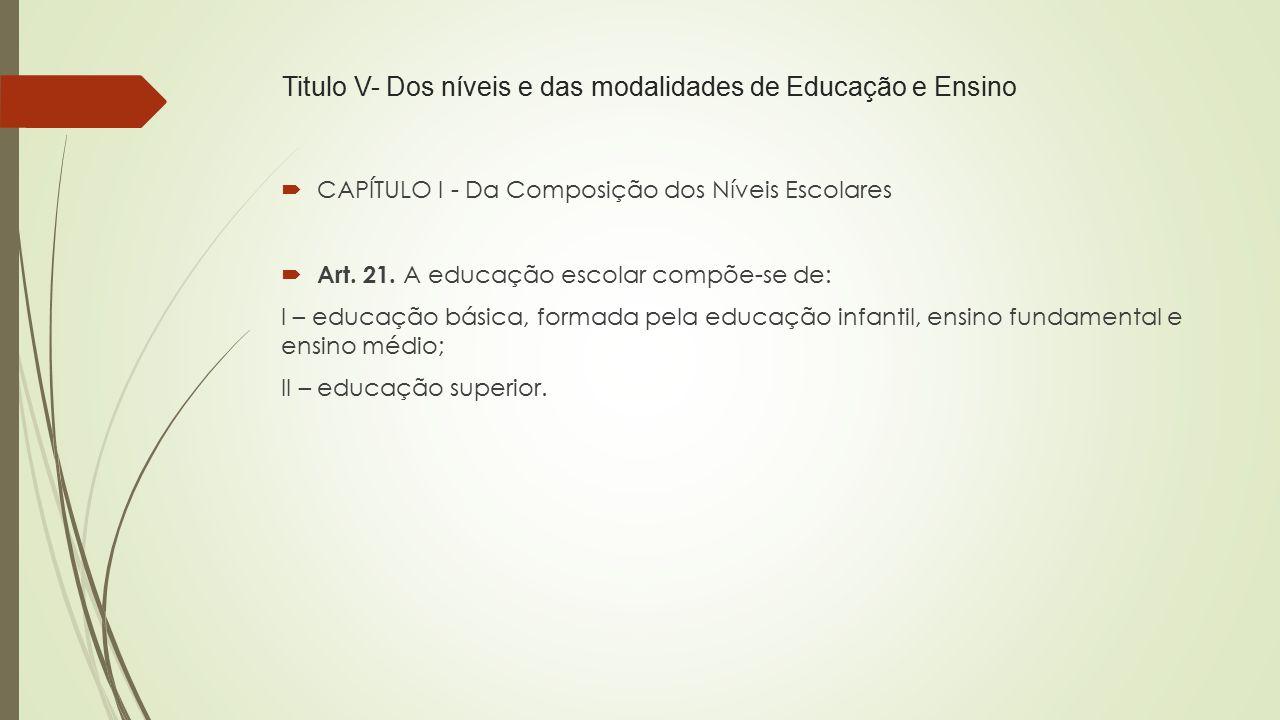 Titulo V- Dos níveis e das modalidades de Educação e Ensino  CAPÍTULO I - Da Composição dos Níveis Escolares  Art. 21. A educação escolar compõe-se