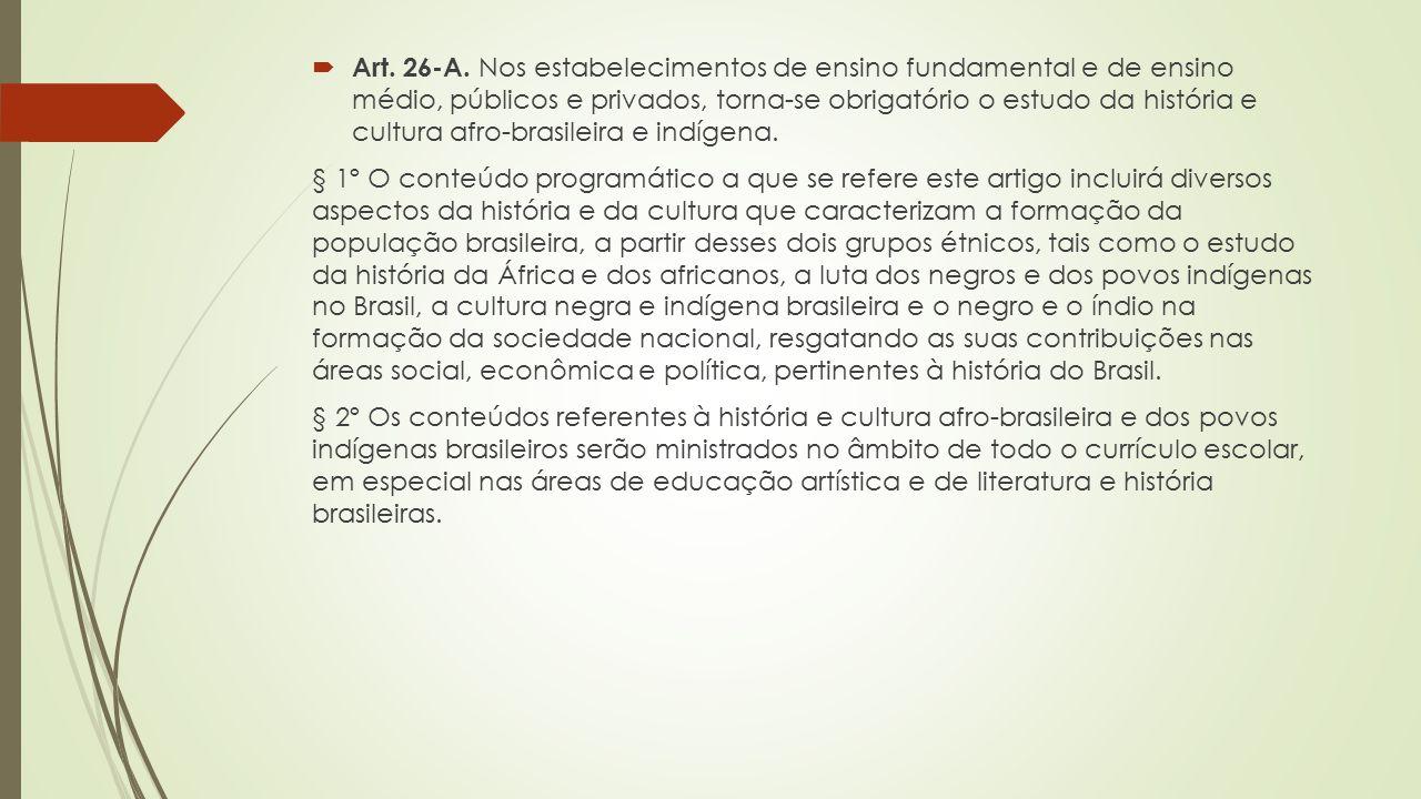  Art. 26-A. Nos estabelecimentos de ensino fundamental e de ensino médio, públicos e privados, torna-se obrigatório o estudo da história e cultura af