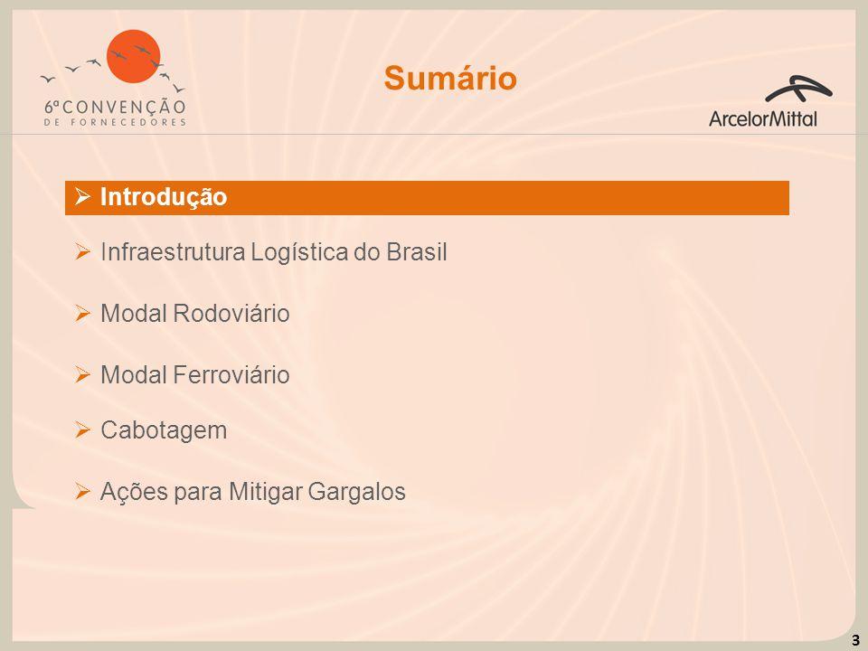 14 Modal Ferroviário A atual malha ferroviária do Brasil representa baixa densidade territorial, se comparada à malha dos Estados Unidos.