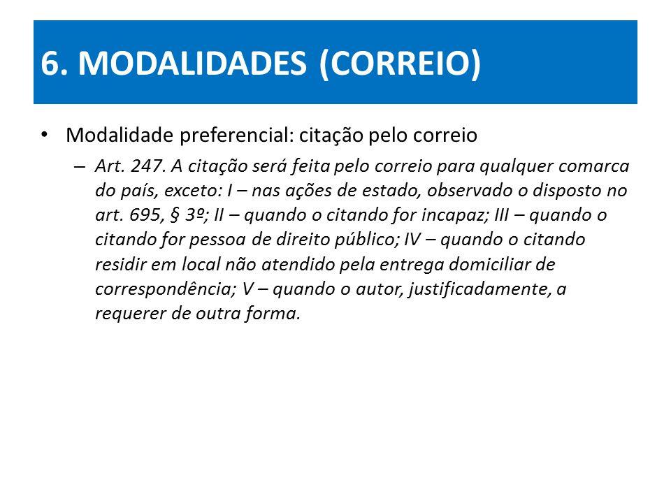 6.MODALIDADES (CORREIO) Modalidade preferencial: citação pelo correio – Art.