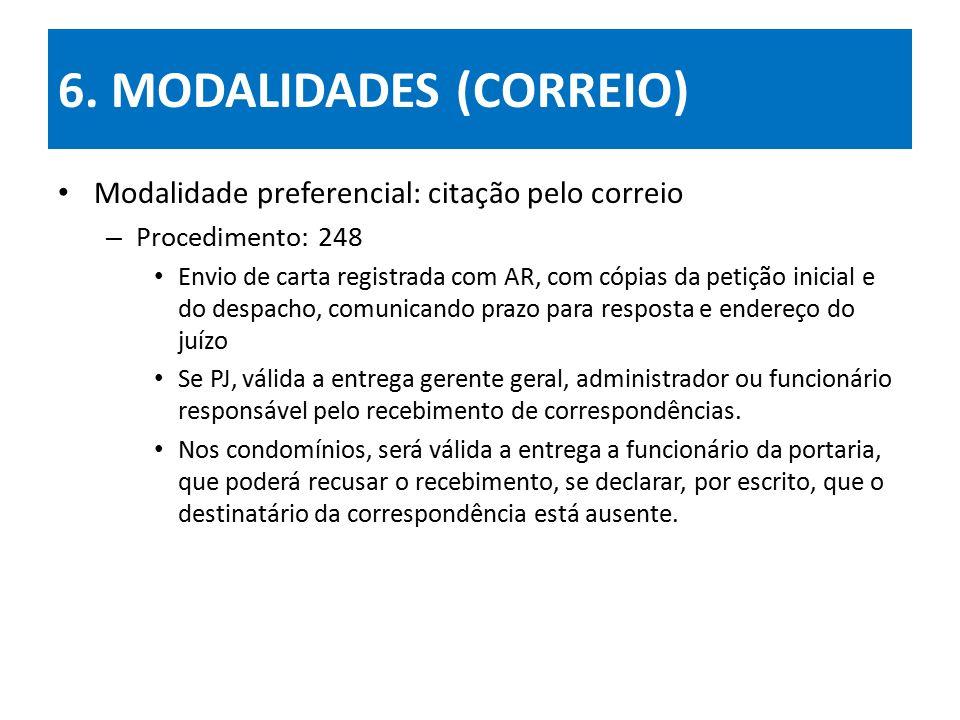 6. MODALIDADES (CORREIO) Modalidade preferencial: citação pelo correio – Procedimento: 248 Envio de carta registrada com AR, com cópias da petição ini