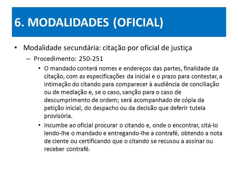 6. MODALIDADES (OFICIAL) Modalidade secundária: citação por oficial de justiça – Procedimento: 250-251 O mandado conterá nomes e endereços das partes,