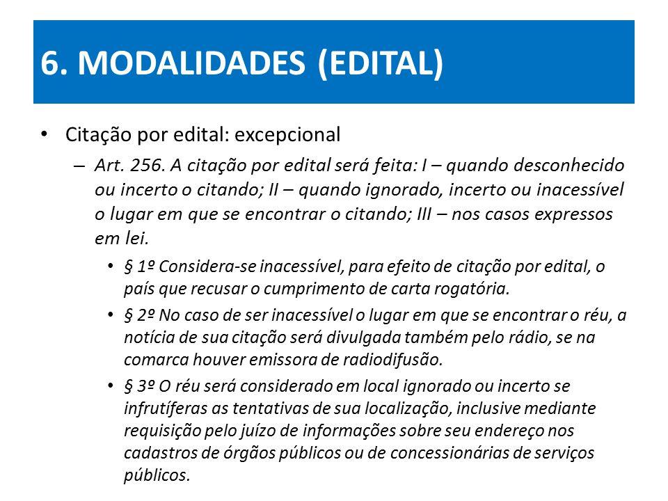 6.MODALIDADES (EDITAL) Citação por edital: excepcional – Art.