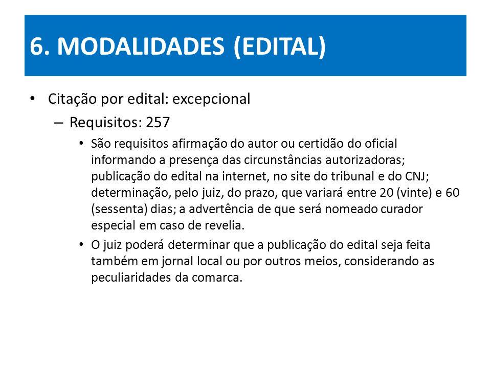 6. MODALIDADES (EDITAL) Citação por edital: excepcional – Requisitos: 257 São requisitos afirmação do autor ou certidão do oficial informando a presen