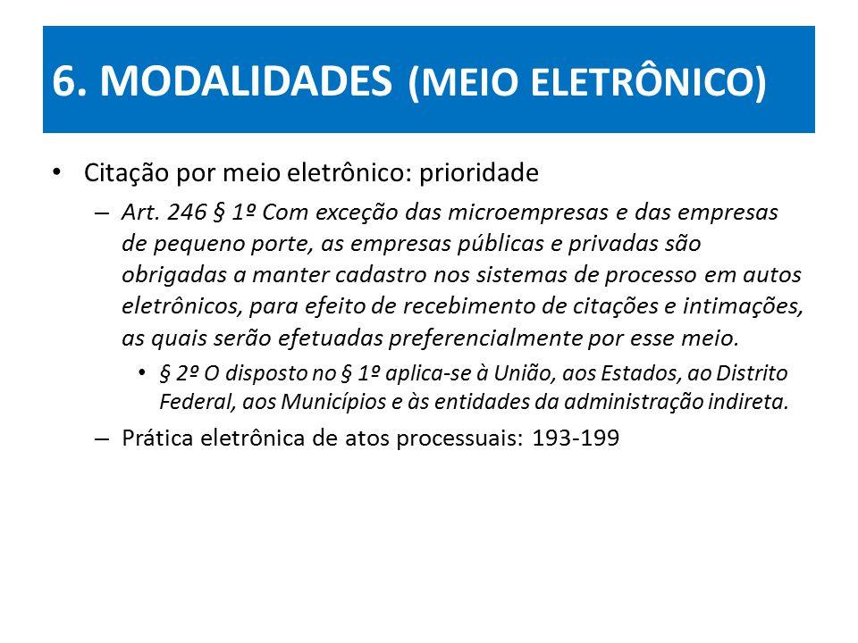 6.MODALIDADES (MEIO ELETRÔNICO) Citação por meio eletrônico: prioridade – Art.