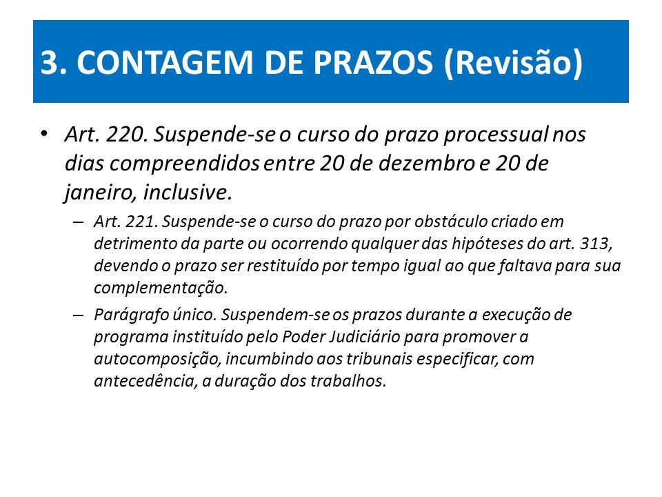 3.CONTAGEM DE PRAZOS (Revisão) Art. 220.