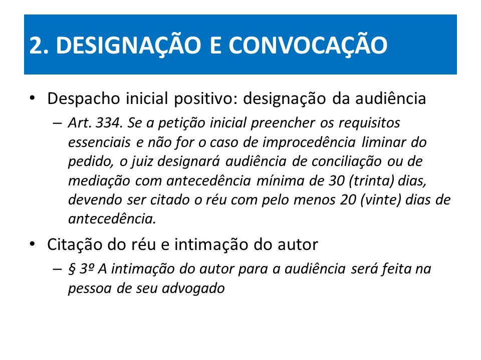 2.DESIGNAÇÃO E CONVOCAÇÃO Despacho inicial positivo: designação da audiência – Art.