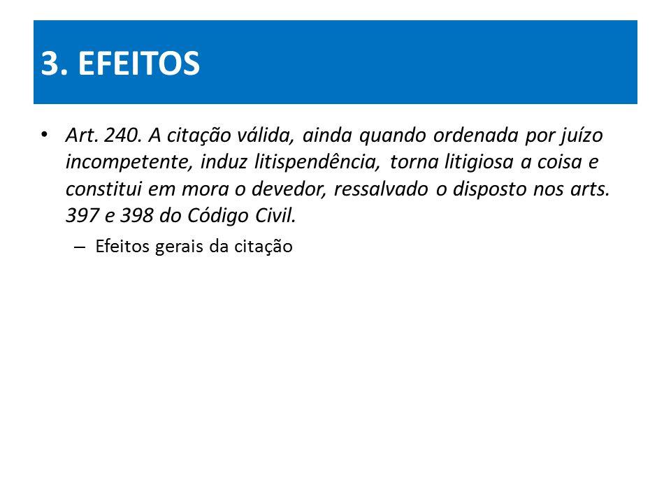 3.EFEITOS Art. 240. A citação válida...