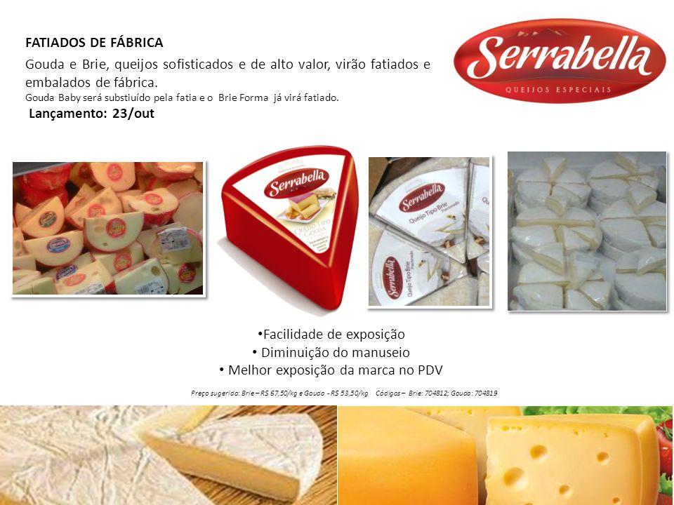 Facilidade de exposição Diminuição do manuseio Melhor exposição da marca no PDV FATIADOS DE FÁBRICA Gouda e Brie, queijos sofisticados e de alto valor