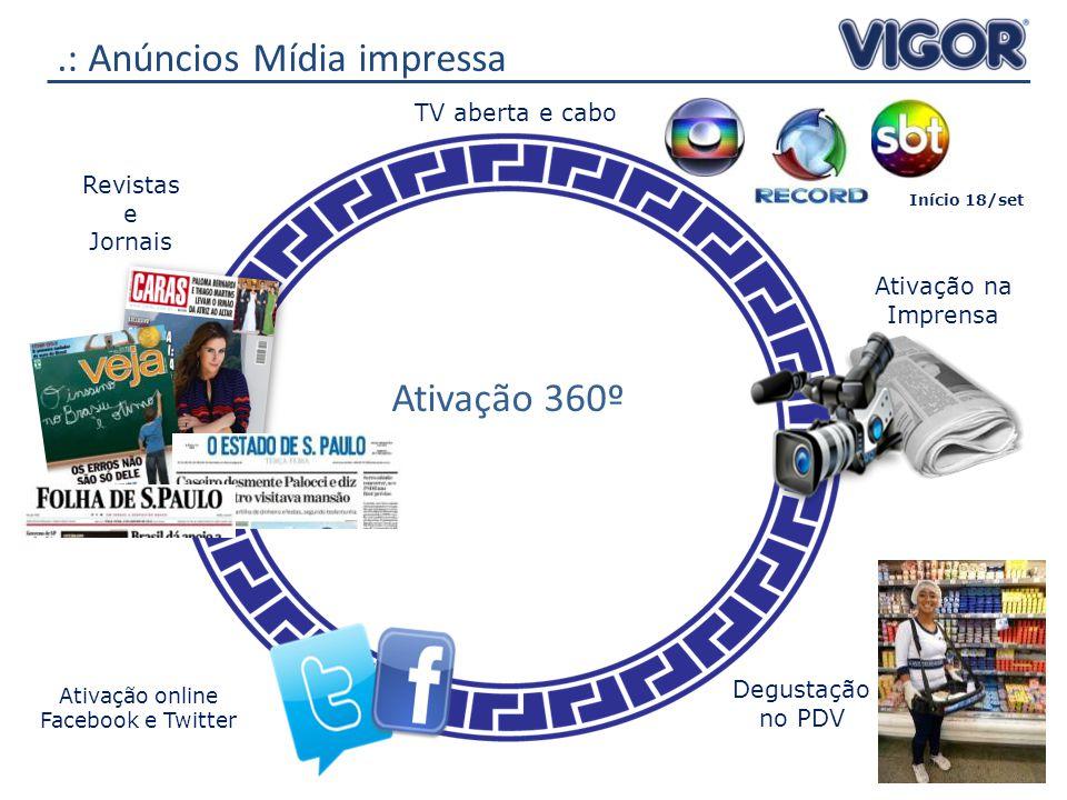 .: Anúncios Mídia impressa Ativação 360º Revistas e Jornais TV aberta e cabo Degustação no PDV Ativação na Imprensa Ativação online Facebook e Twitter