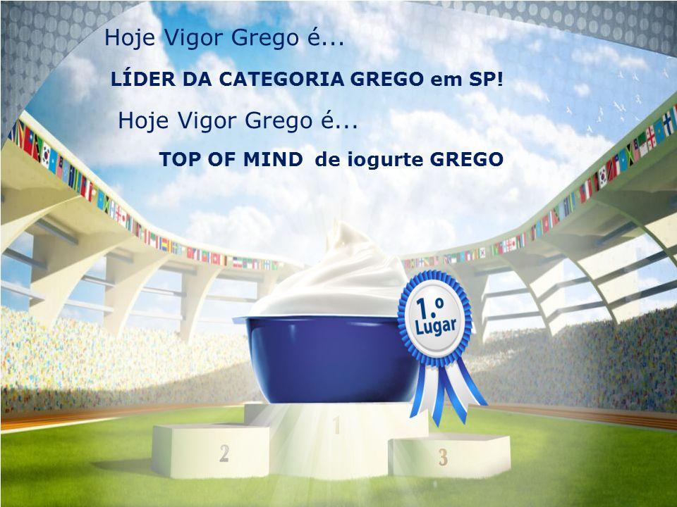Hoje Vigor Grego é... LÍDER DA CATEGORIA GREGO em SP! Hoje Vigor Grego é... TOP OF MIND de iogurte GREGO