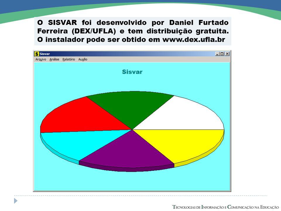 O SISVAR foi desenvolvido por Daniel Furtado Ferreira (DEX/UFLA) e tem distribuição gratuita. O instalador pode ser obtido em www.dex.ufla.br