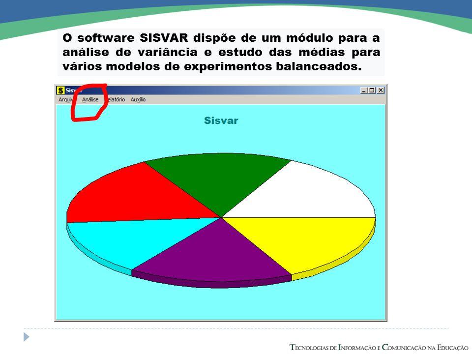 O software SISVAR dispõe de um módulo para a análise de variância e estudo das médias para vários modelos de experimentos balanceados.