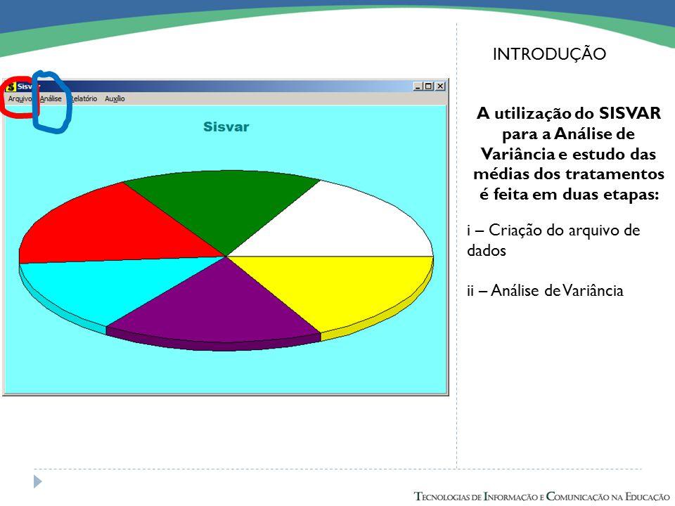 INTRODUÇÃO A utilização do SISVAR para a Análise de Variância e estudo das médias dos tratamentos é feita em duas etapas: i – Criação do arquivo de da
