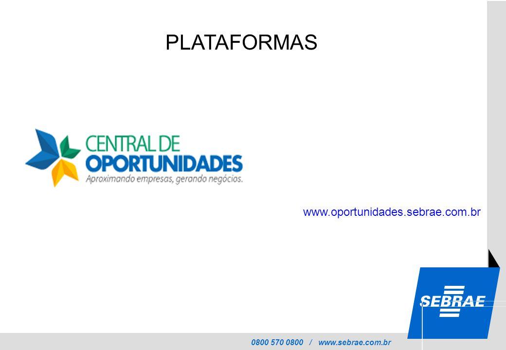 0800 570 0800 / www.sebrae.com.br PLATAFORMAS www.oportunidades.sebrae.com.br