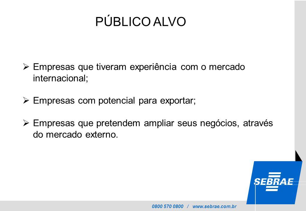 0800 570 0800 / www.sebrae.com.br PÚBLICO ALVO  Empresas que tiveram experiência com o mercado internacional;  Empresas com potencial para exportar;  Empresas que pretendem ampliar seus negócios, através do mercado externo.