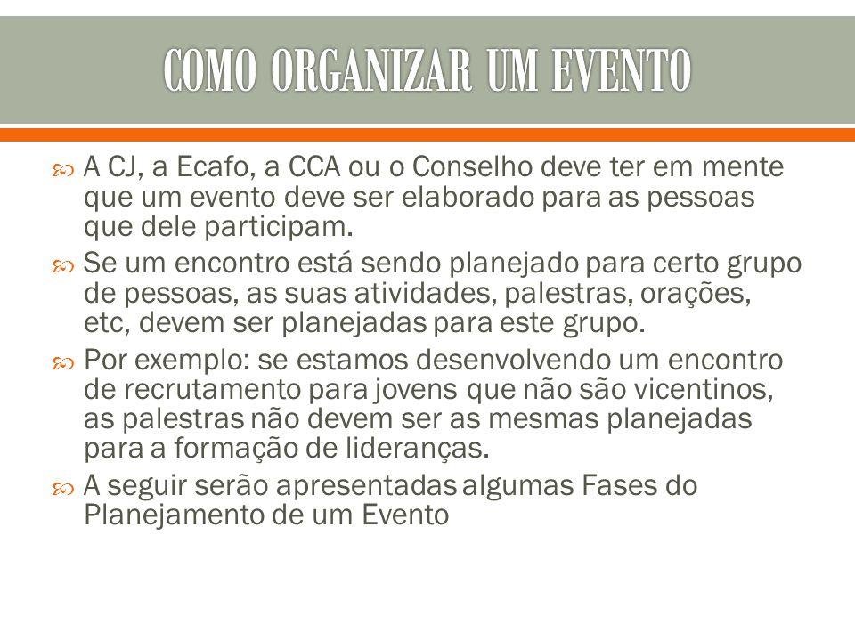  A CJ, a Ecafo, a CCA ou o Conselho deve ter em mente que um evento deve ser elaborado para as pessoas que dele participam.  Se um encontro está sen
