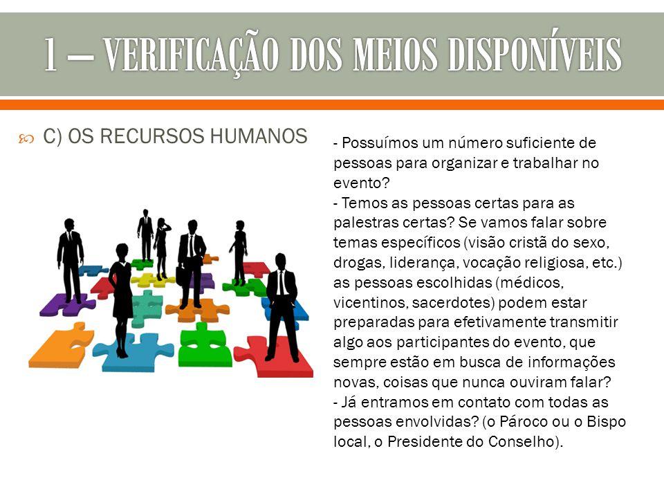  C) OS RECURSOS HUMANOS - Possuímos um número suficiente de pessoas para organizar e trabalhar no evento? - Temos as pessoas certas para as palestras