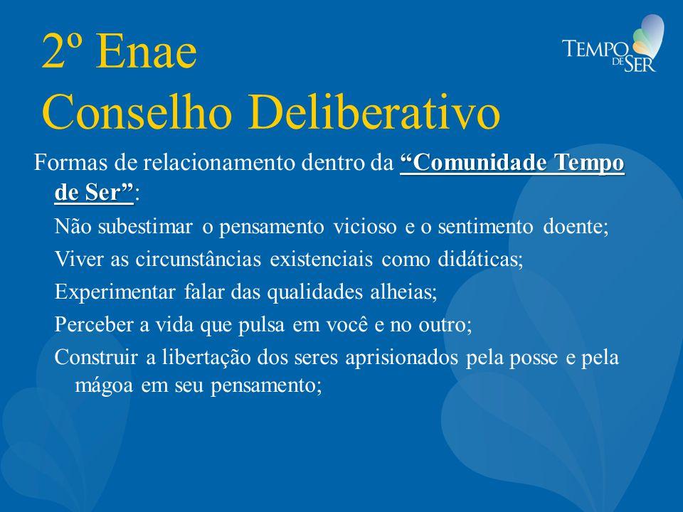 """2º Enae Conselho Deliberativo """"Comunidade Tempo de Ser"""" Formas de relacionamento dentro da """"Comunidade Tempo de Ser"""": Não subestimar o pensamento vici"""