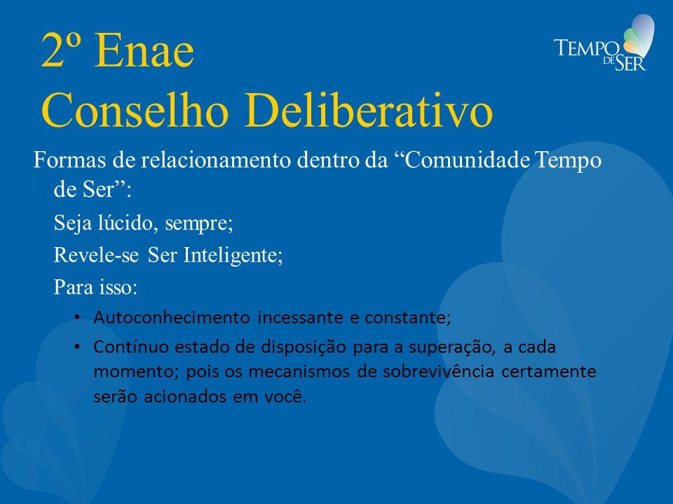 """2º Enae Conselho Deliberativo Formas de relacionamento dentro da """"Comunidade Tempo de Ser"""": Seja lúcido, sempre; Revele-se Ser Inteligente; Para isso:"""