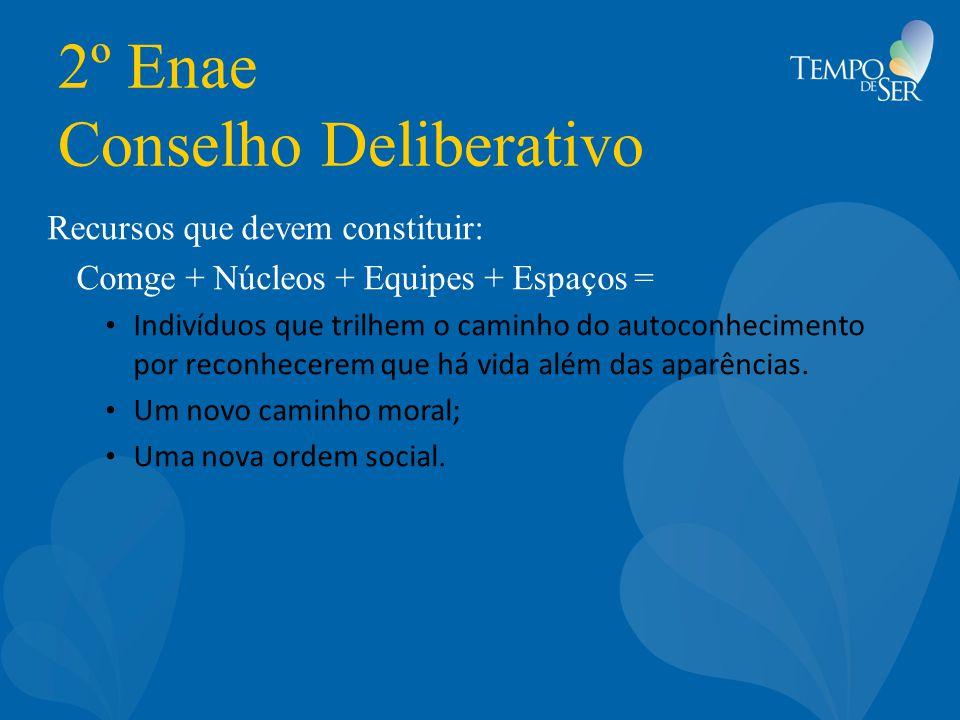 2º Enae Conselho Deliberativo Recursos que devem constituir: Comge + Núcleos + Equipes + Espaços = Indivíduos que trilhem o caminho do autoconheciment