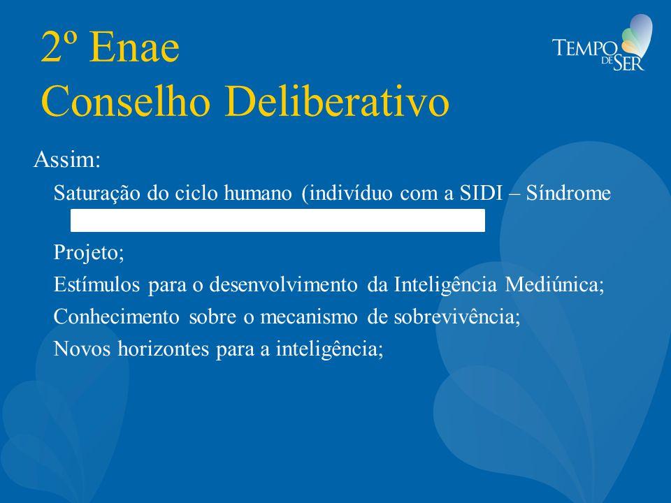 2º Enae Conselho Deliberativo Assim: Saturação do ciclo humano (indivíduo com a SIDI – Síndrome do Desconhecimento Interior); Projeto; Estímulos para