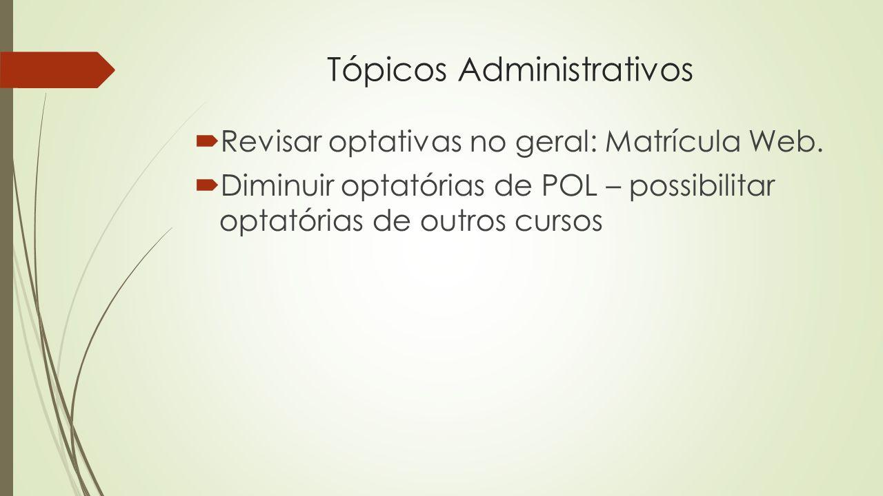 Tópicos Administrativos  Revisar optativas no geral: Matrícula Web.