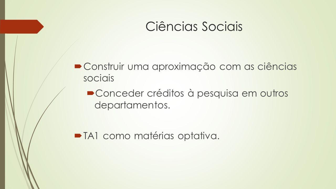 Ciências Sociais  Construir uma aproximação com as ciências sociais  Conceder créditos à pesquisa em outros departamentos.