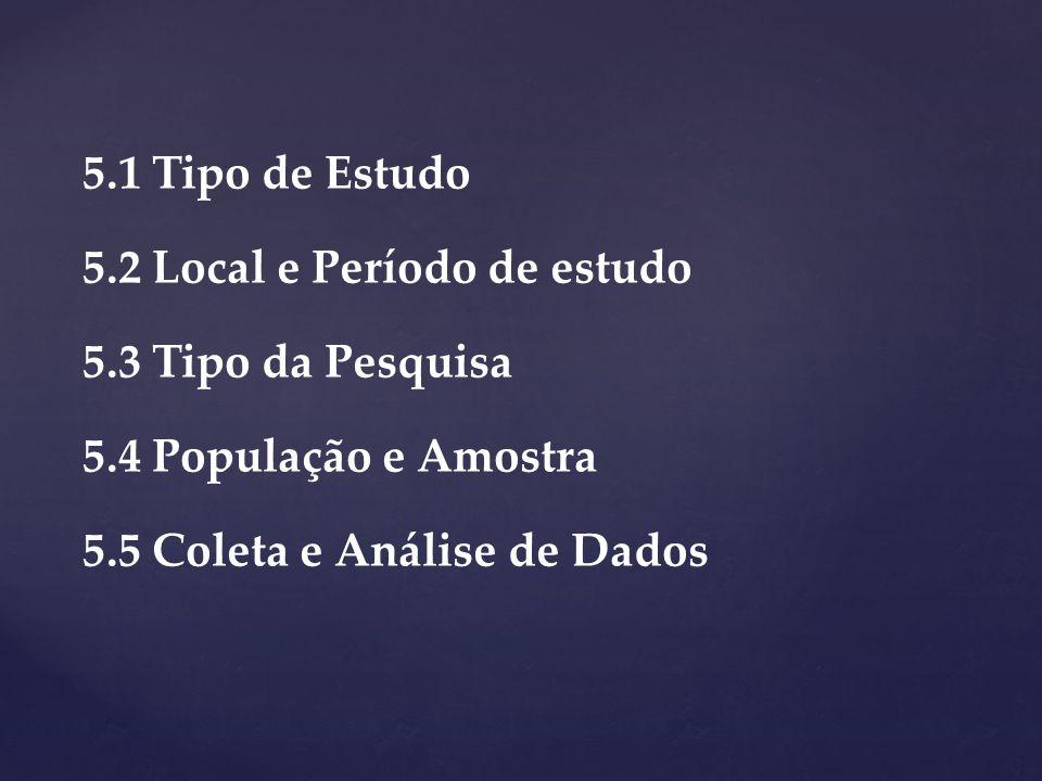 5.1 Tipo de Estudo 5.2 Local e Período de estudo 5.3 Tipo da Pesquisa 5.4 População e Amostra 5.5 Coleta e Análise de Dados