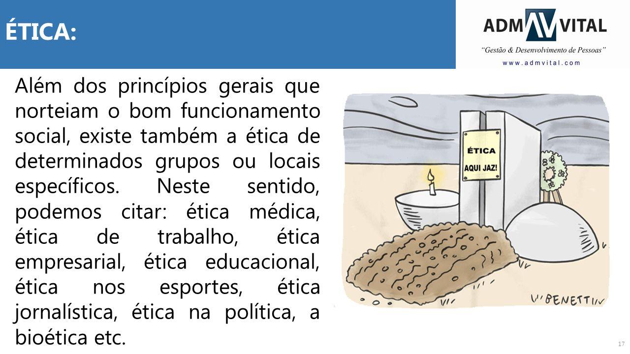17 ÉTICA: Além dos princípios gerais que norteiam o bom funcionamento social, existe também a ética de determinados grupos ou locais específicos. Nest