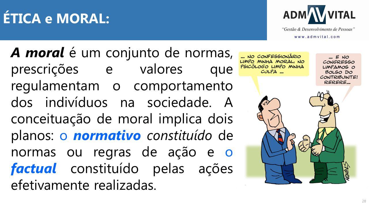 28 ÉTICA e MORAL: A moral é um conjunto de normas, prescrições e valores que regulamentam o comportamento dos indivíduos na sociedade. A conceituação