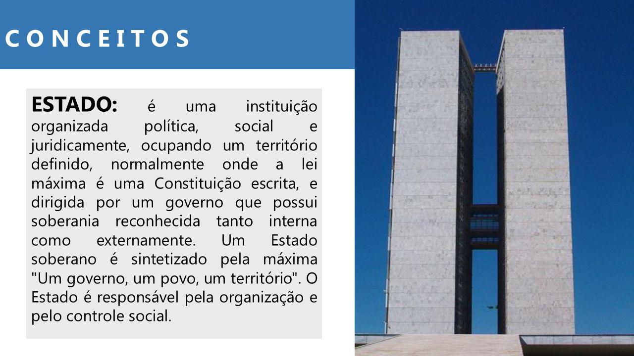 ESTADO: é uma instituição organizada política, social e juridicamente, ocupando um território definido, normalmente onde a lei máxima é uma Constituiç