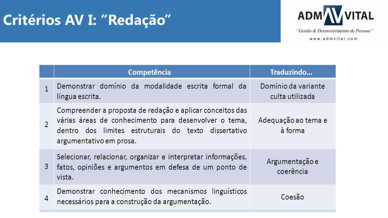 """Critérios AV I: """"Redação"""""""