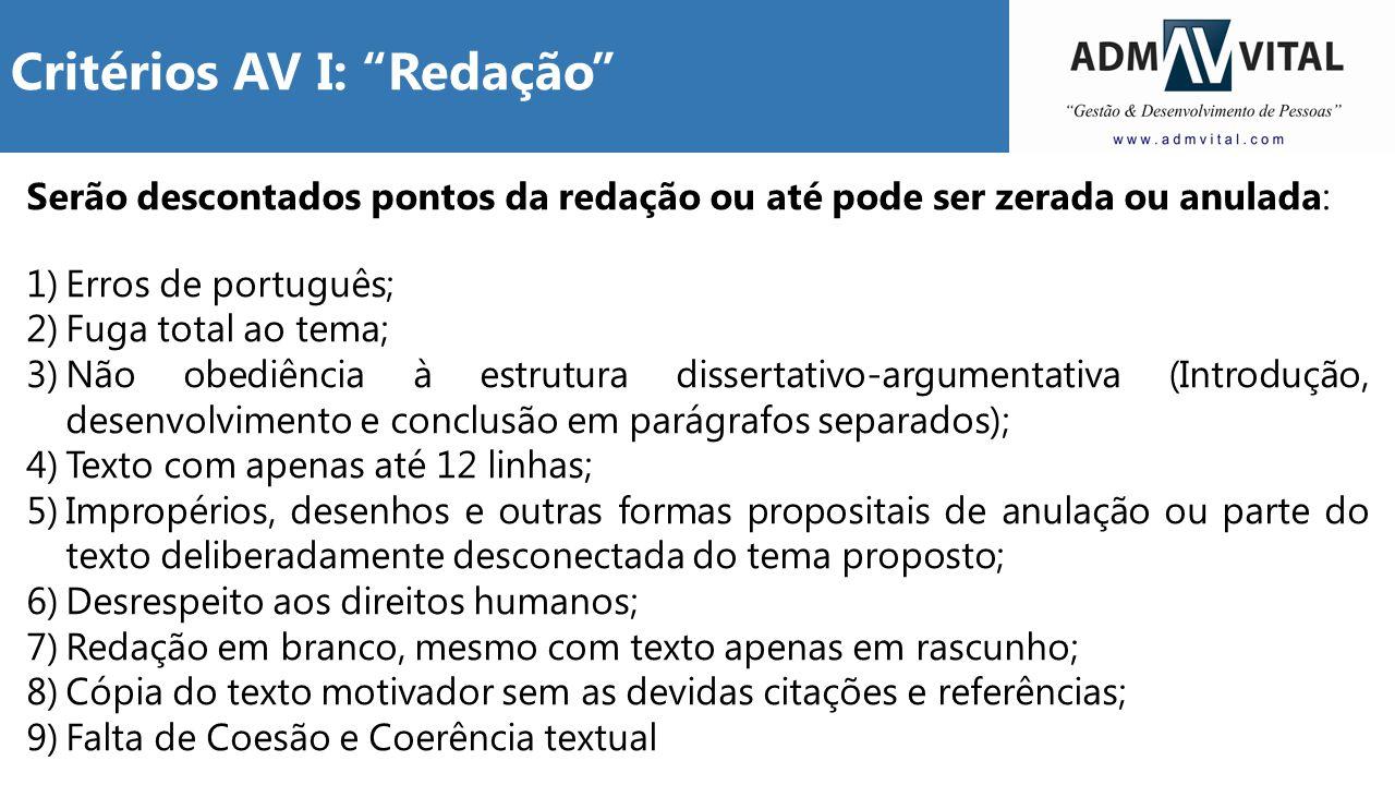 Serão descontados pontos da redação ou até pode ser zerada ou anulada: 1)Erros de português; 2)Fuga total ao tema; 3)Não obediência à estrutura disser